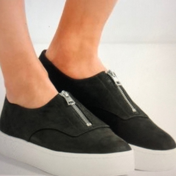 Vince Zip Black Suede Platform Sneakers